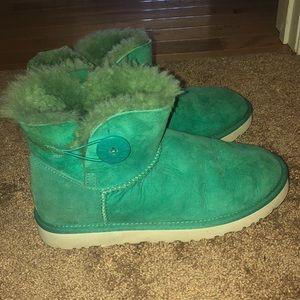 Teal/ greenish blue mini bailey button Ugg boots